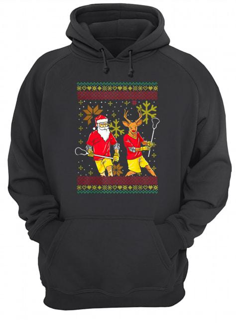 Merry Laxmas Christmas Lacrosse Player Reindeer Santa Claus  Unisex Hoodie