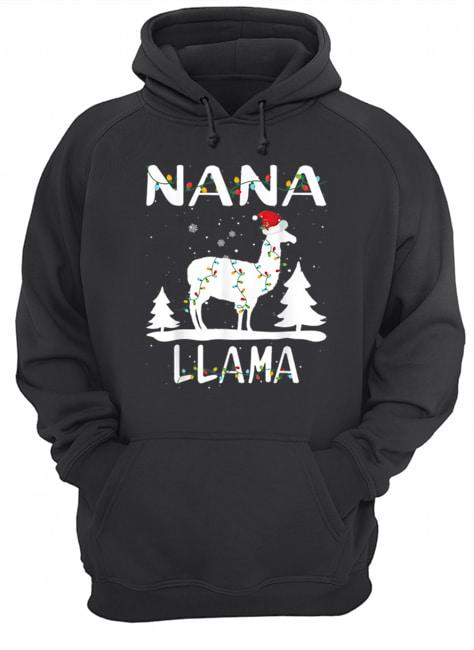 Nana Llama Christmas Funny Matching Family Pajama Gift  Unisex Hoodie