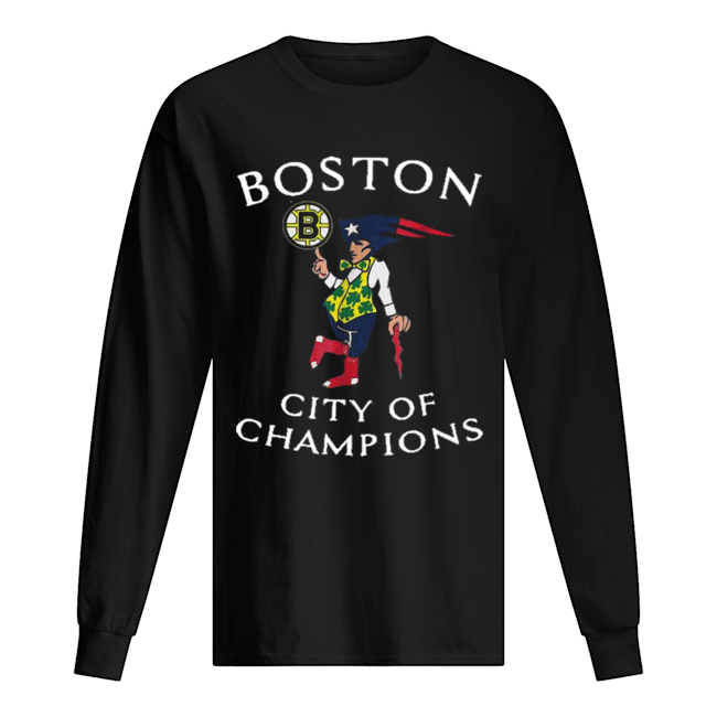 New England Patriots Boston Bruins city of Champions  Long Sleeved T-shirt
