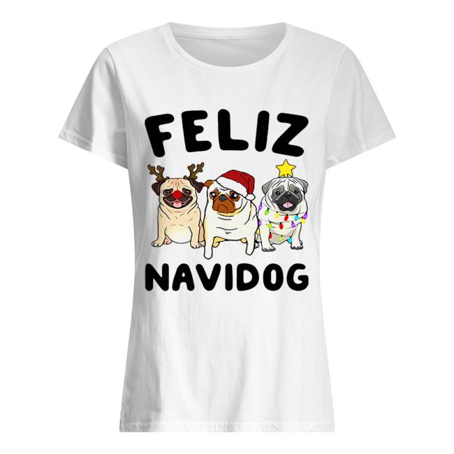Pugs feliz navidog Christmas  Classic Women's T-shirt