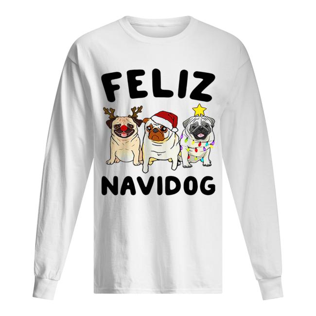 Pugs feliz navidog Christmas  Long Sleeved T-shirt