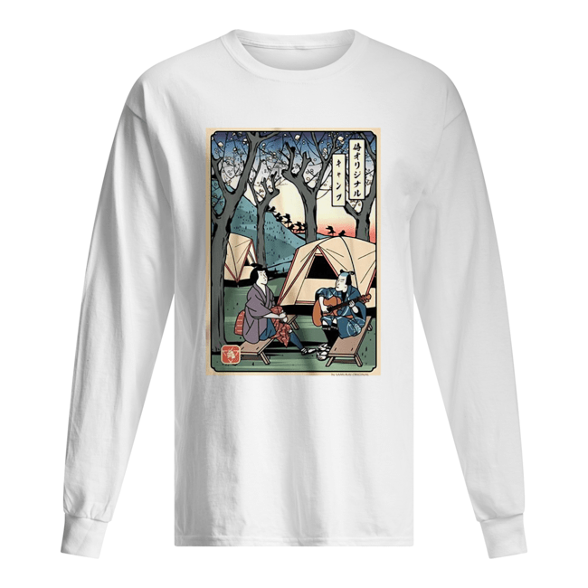 Samurai Camping Play Guitar  Long Sleeved T-shirt