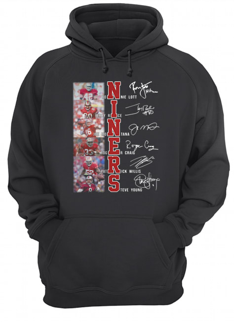 San Francisco 49ers Ronnie Lott Jerry Rice Joe Montana Roger Craig Patrick Willis Steve Young Signatures  Unisex Hoodie