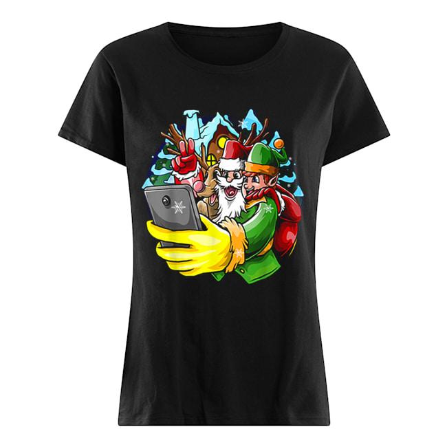 Santa Elf Reindeer Selfie Christmas Friends Group  Classic Women's T-shirt
