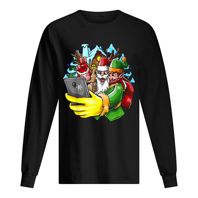 Santa Elf Reindeer Selfie Christmas Friends Group  Long Sleeved T-shirt