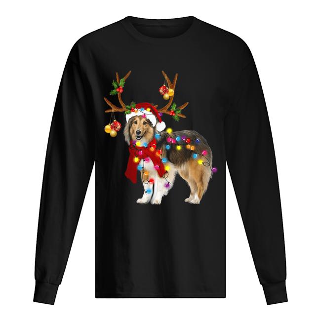 Sheltie gorgeous reindeer light Christmas  Long Sleeved T-shirt