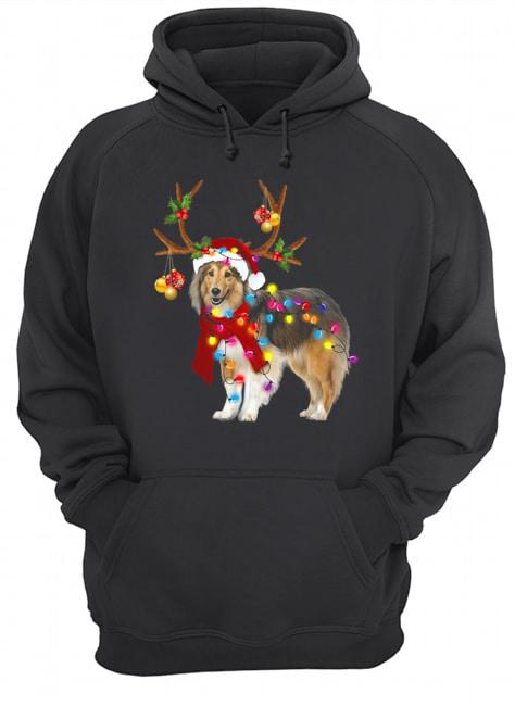 Sheltie gorgeous reindeer light Christmas  Unisex Hoodie