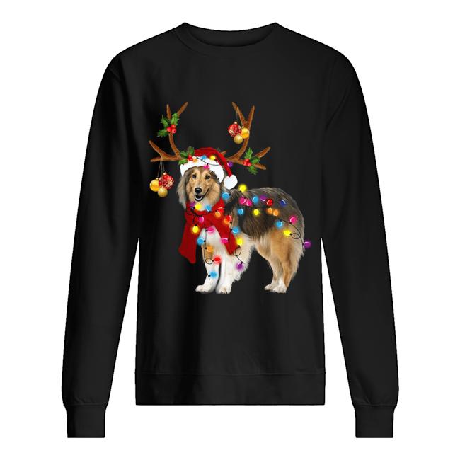 Sheltie gorgeous reindeer light Christmas  Unisex Sweatshirt