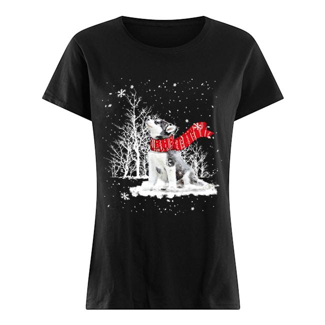 Siberian Husky Snow Crewneck  Classic Women's T-shirt