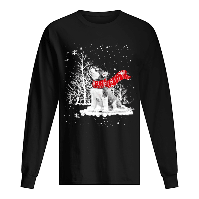 Siberian Husky Snow Crewneck  Long Sleeved T-shirt