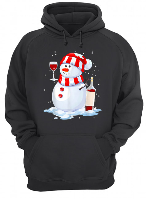 Snowman Drinking Wine Christmas  Unisex Hoodie