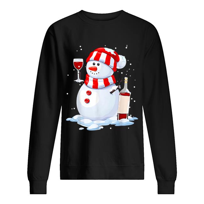 Snowman Drinking Wine Christmas  Unisex Sweatshirt