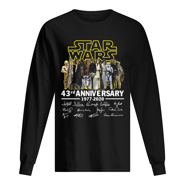Star Wars 43rd Anniversary 1977-2020 Signatures  Long Sleeved T-shirt