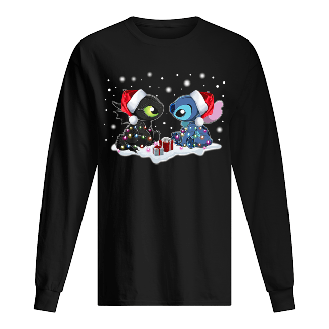 Stitch and Toothless Christmas  Long Sleeved T-shirt