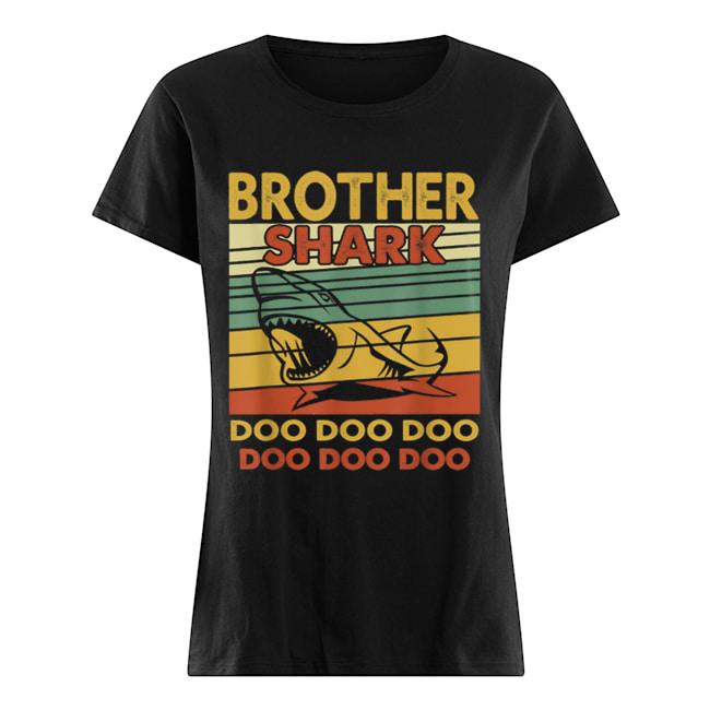 Vintage Brother Shark Doo Doo Santa Christmas Matching Gift  Classic Women's T-shirt