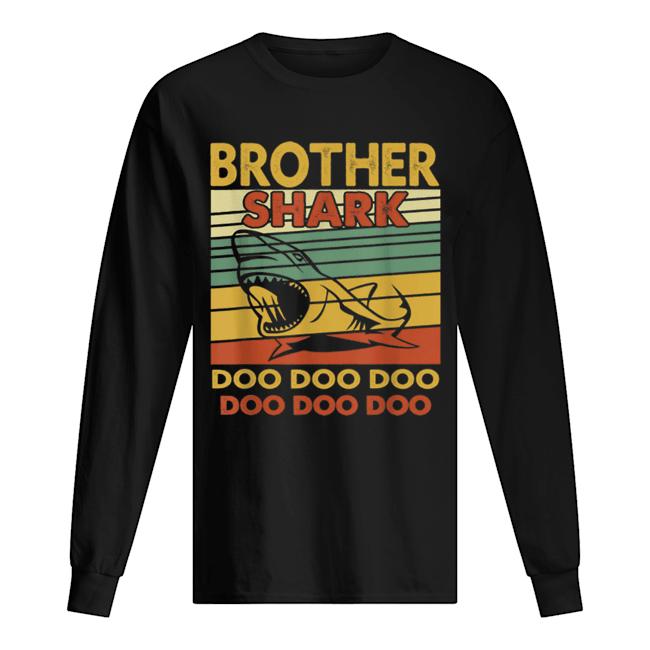 Vintage Brother Shark Doo Doo Santa Christmas Matching Gift  Long Sleeved T-shirt