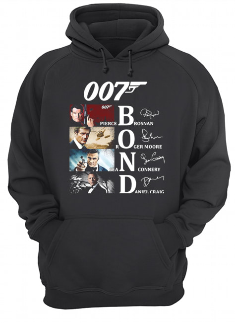 007 Pierce Brosnan Roger Moore Sean Connery Daniel Craig Signatures  Unisex Hoodie