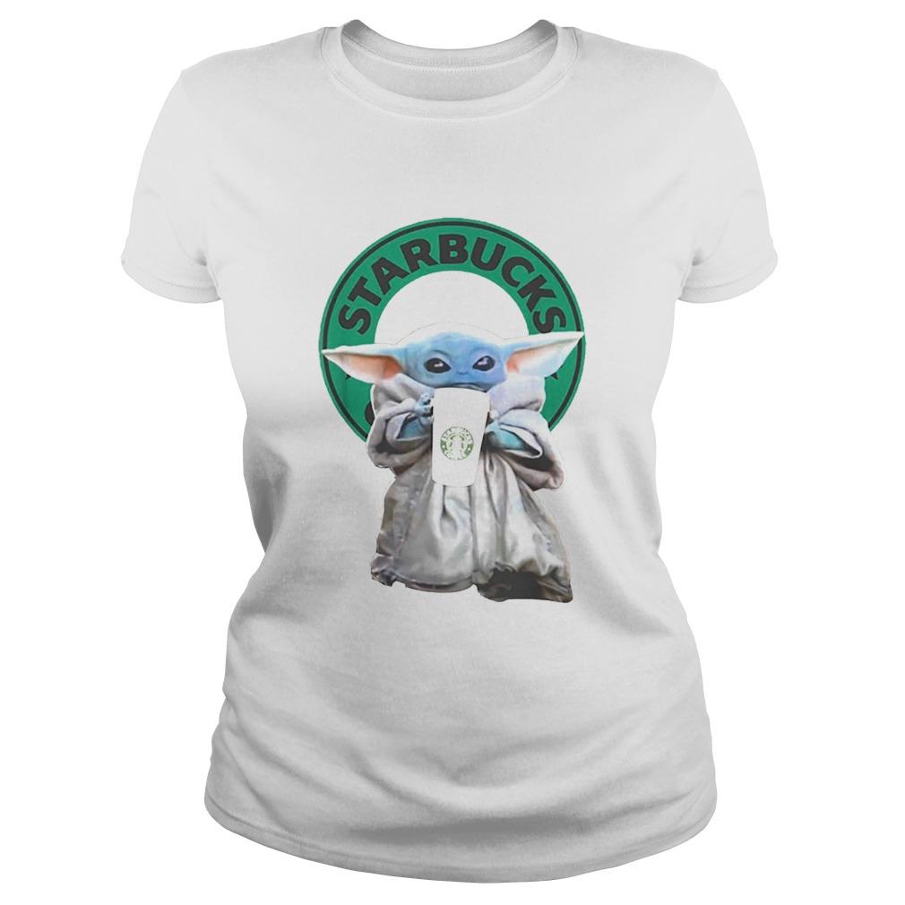 Baby Yoda drinking Starbucks Star Wars  Classic Ladies