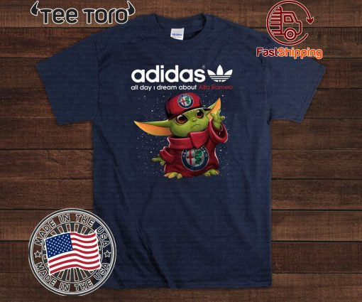 Adidas All Day I Dream About Alfa Romeo Baby Yoda Tee Shirt