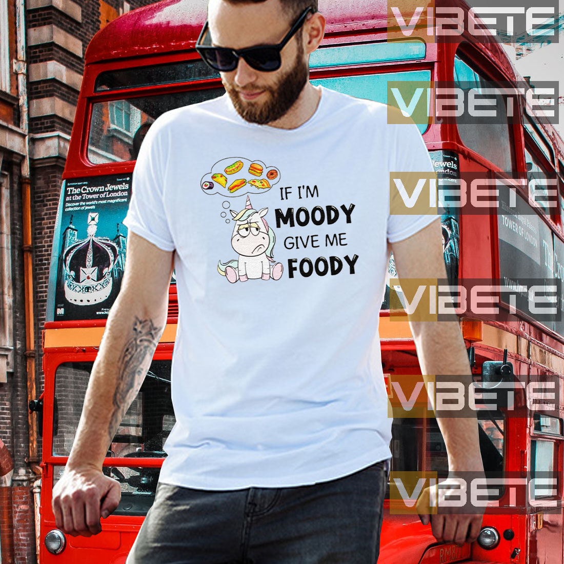 Unicorn If I'm Moody Give Me Foody Shirts