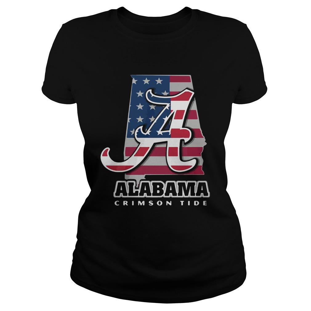 Alabama Crimson Tide American Flag  Classic Ladies