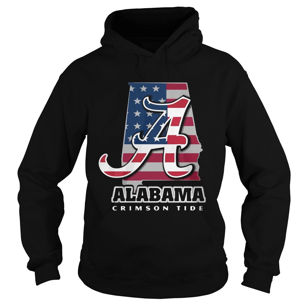 Alabama Crimson Tide American Flag  Hoodie