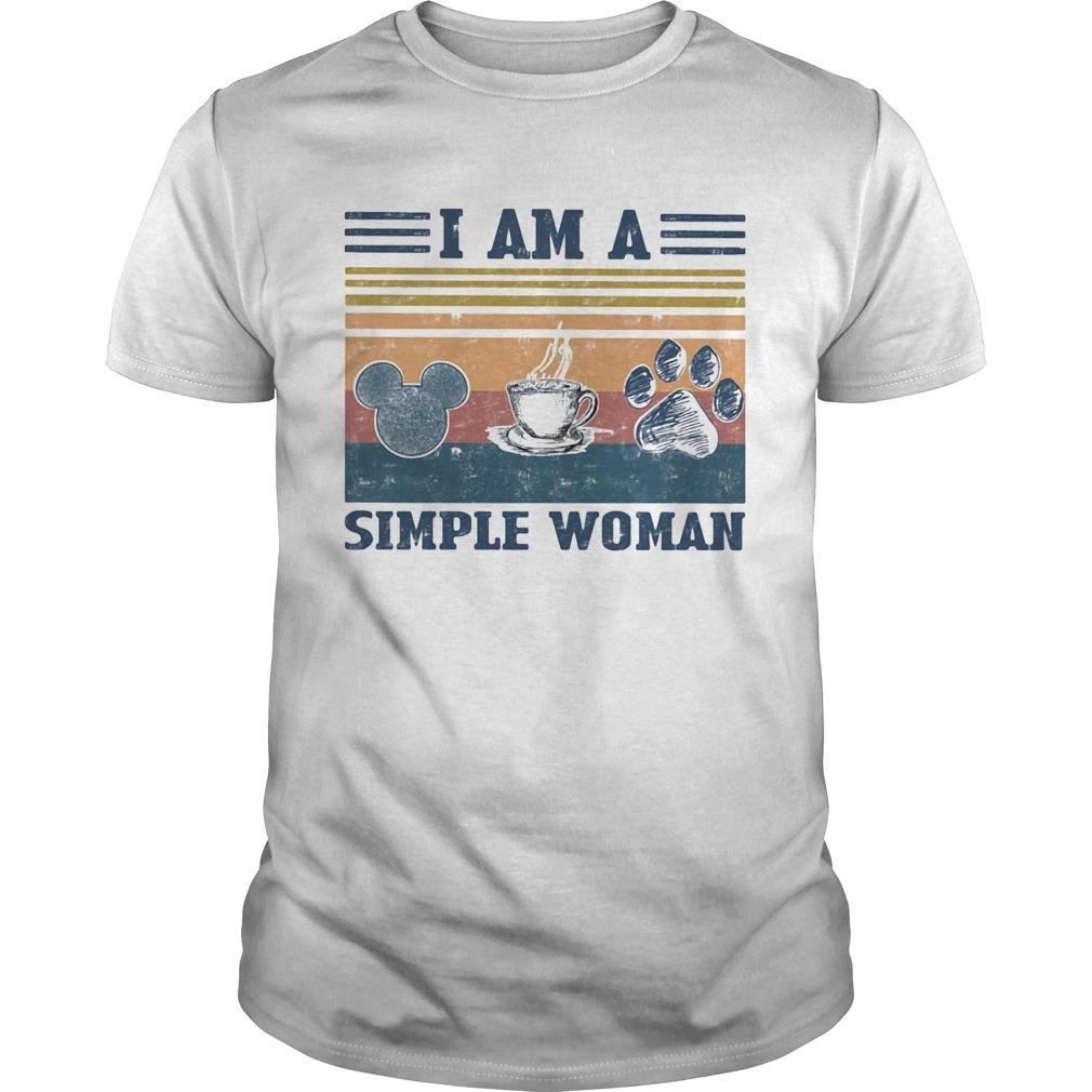 I am a simple woman mickey mouse coffee and paw dog vintage retro Unisex