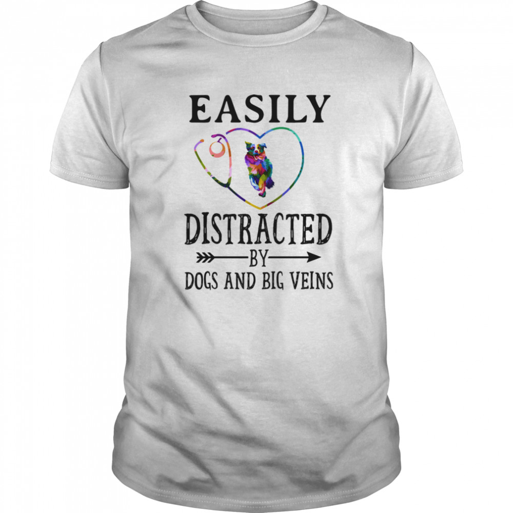 Easily distracted by dogs and big veins german shepherd heart Classic Men's T-shirt