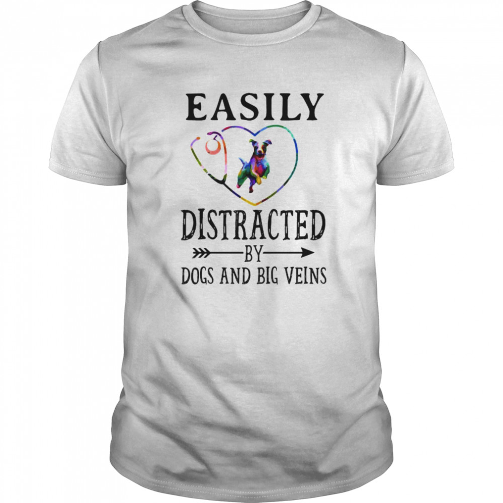 Easily distracted by dogs and big veins heart Classic Men's T-shirt