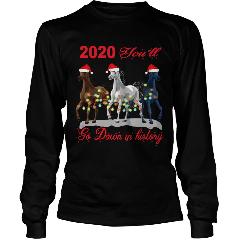 Three Horse 2020 You Will Go Down In History Christmas  Long Sleeve